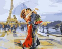 Картины по номерам 40х50 Влюбленные в Париже