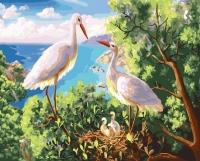 Картины по номерам 40х50 Аисты в гнезде