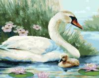 Картины по номерам 40х50 Лебединая семья
