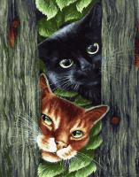 Картины по номерам 40х50 Любопытные коты
