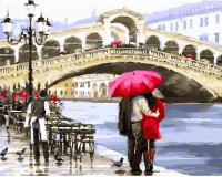 Картины по номерам 40х50 Влюбленные у моста в Венеции