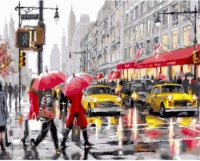 Картины по номерам 40х50 Желтые такси и красные зонтики