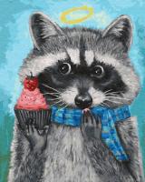 Картины по номерам 40х50 Енот в шарфике