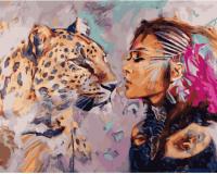 Картины по номерам 40х50 Девушка и леопард
