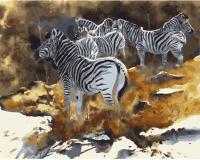 Картины по номерам 40х50 Акварельные зебры