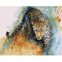 Картины по номерам 40х50 Акварельный крадущийся леопард