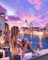 Картины по номерам 40х50 Девушка у канала в Венеции
