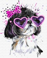 Картины по номерам 40х50 Собачка в розовых очках