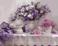 Картины по номерам 40х50 Свежие цветы на столе
