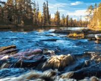 Картины по номерам 40х50 Осень на речных порогах
